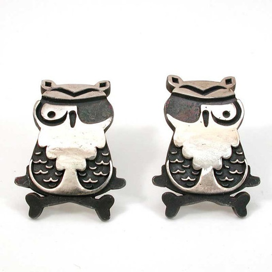 Pirate Owl with Eye Patch and Crossbones Silver Post Earrings- Handmade