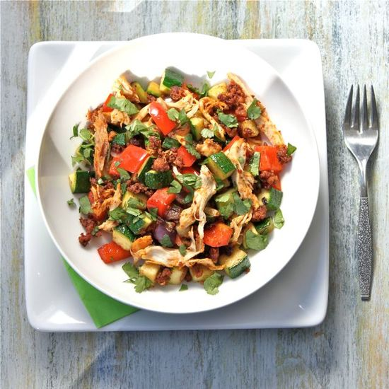Chicken Chorizo No Potato Hash.   This link also provides other recipes for the