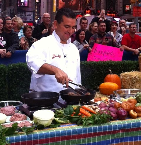 Buddy cooking recipes from his new book, Family Celebrations with the Cake Boss on Good Morning America!