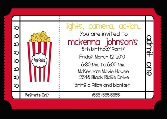 Movie Theater Birthday Party Invitation by nattysuedesigns1, $15.00
