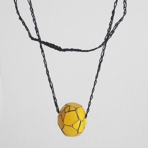 Faceted golden yellow porcelain bead necklace