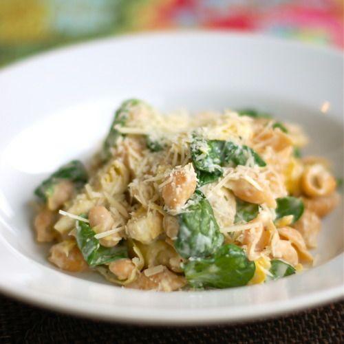 spinach, artichoke, white bean pasta