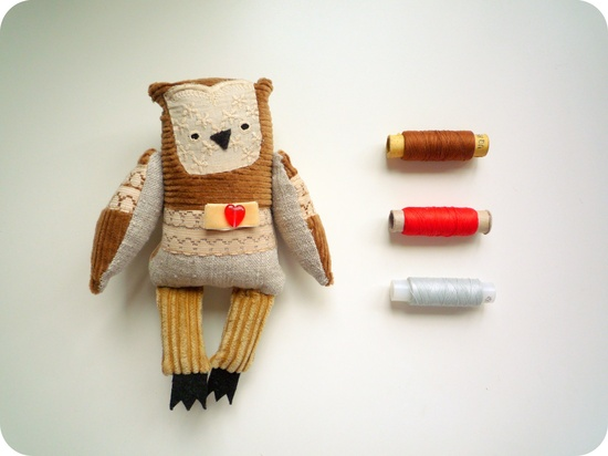 Benjamin  Little   Owl , soft art toy by  Wassupbrothers. $40.00, via Etsy.