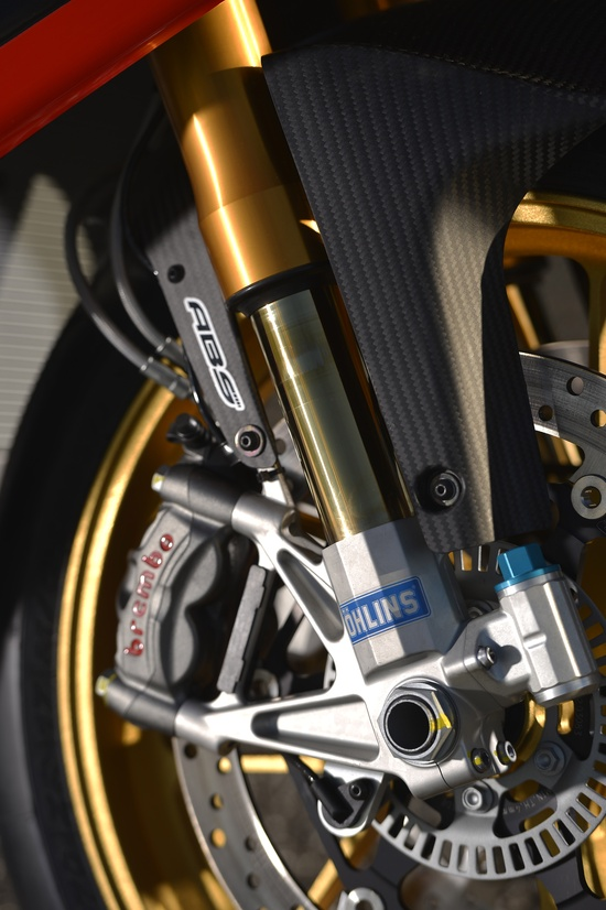 Front fork detail of #Aprilia #RSV4 #Factory ABS in Estoril #race track for the #2013 #press #event - #sport #motorbike #motorcycle #passion