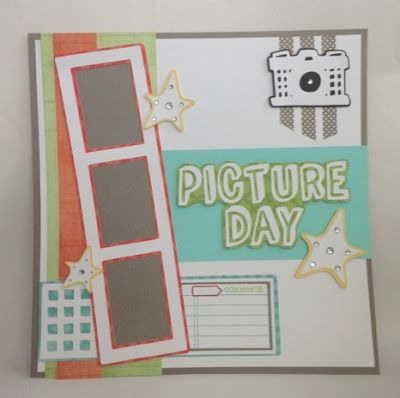 Courtney Lane Designs: Picture Day scrapbook layout made using the When I Was A Kid cartridge.