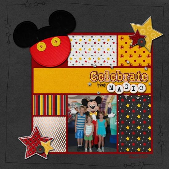 #papercraft #disney #scrapbook #layout grid of papers, fun mickey embellishment