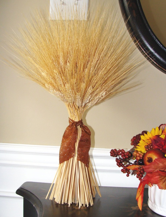 Thanksgiving Decoration- Large Wheat Sheaf With Ribbon- Thanksgiving Centerpiece. $18.00, via Etsy.
