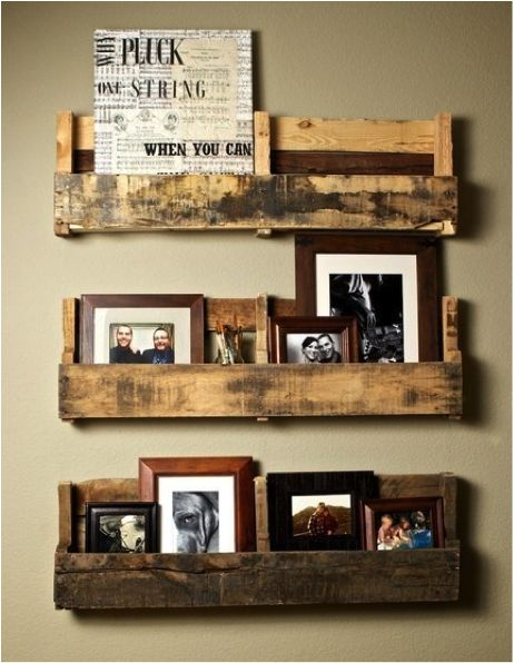 "Old pallet into shelf - now that I have a surplus of ""borrowed"" pallets! maybe I will try this...ooooooo another idea"