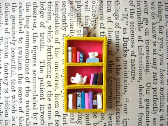 Tea Shop Bookshelf Necklace by Coryographies (Made to Order). £25.00, via Etsy.