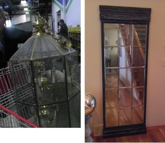 DIY Before and After: An ugly old light taken apart and the bevel glass panels sprayed Krylon Looking Glass Paint, soldered together, and attached to plywood using several types of decorative trim to make an awesome floor mirror. This is