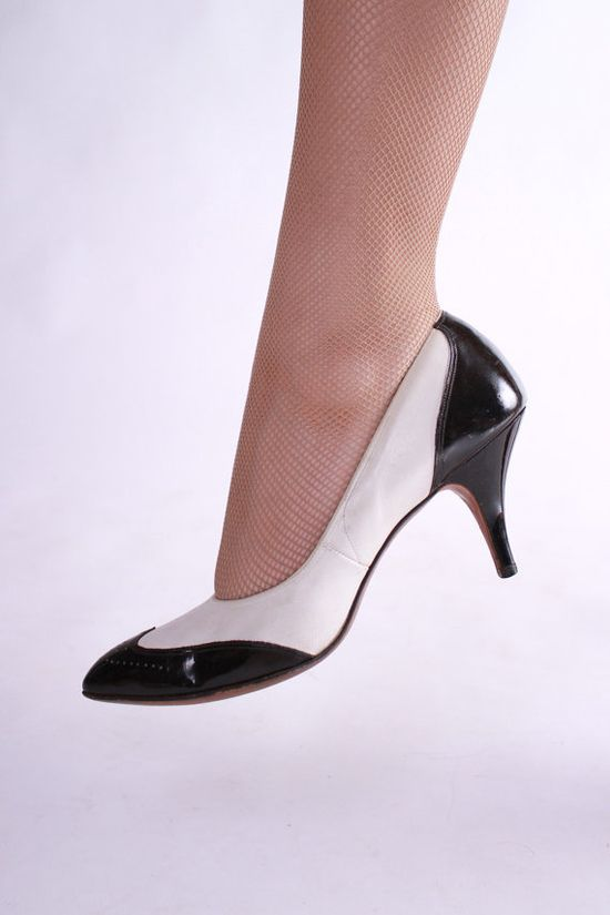 1950s Vintage Shoes  Classic Black and White Spectator by FabGabs, $64.00