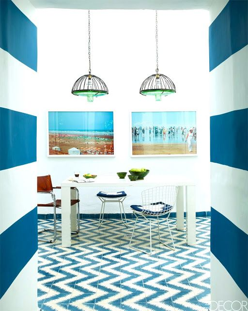 blue white dining room zigzag chevron cement tile floor striped stripe wall morocco home... would you dare?