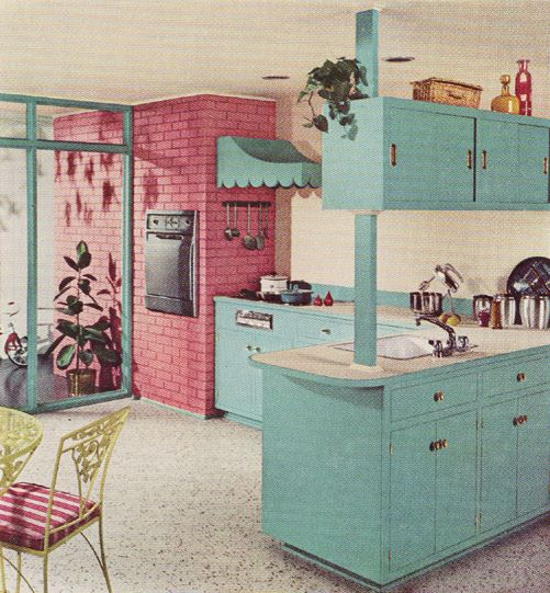 A cheerfully fun aqua and pink kitchen from 1960.
