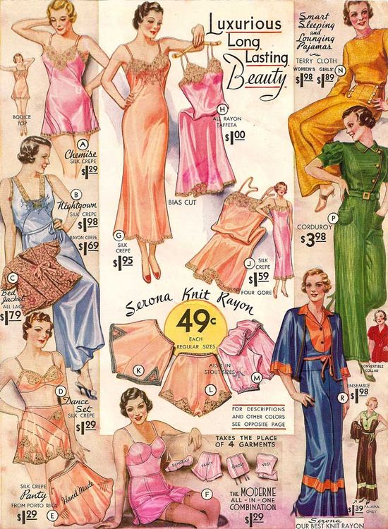 Lounging pjs and lingerie – Sears 1934 catalogue
