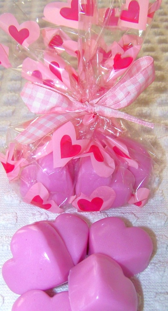 Valentine's Day Mini Pink Soap Hearts - bag of (7) natural kids soaps