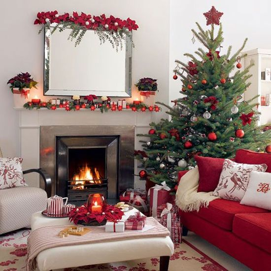 Traditional Christmas Tree Decorating Ideas with Red and White Family Room Furniture.