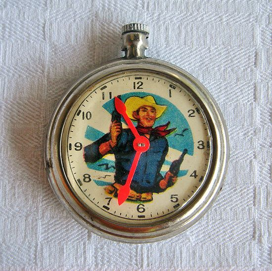 Vintage Cowboy Toy Pocket Watch