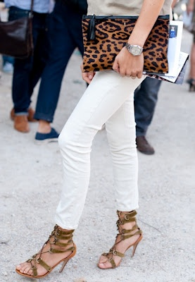 white jeans and leopard. We have a few leopard clutches left!! Www.trendswelove.com