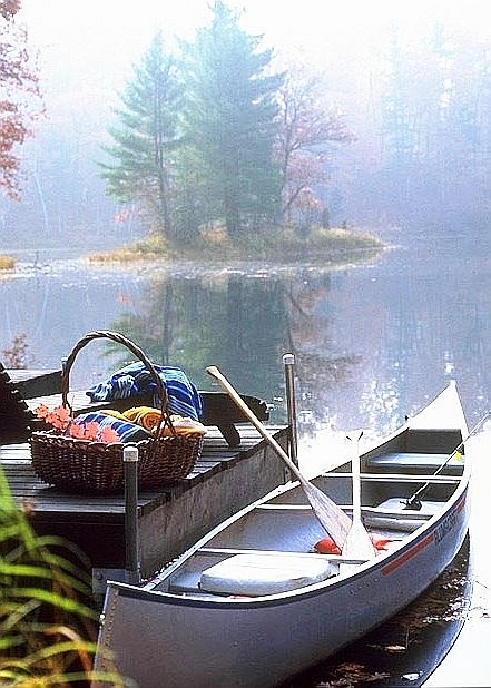 Such a sublime idea—to take a picnic basket while canoeing on a serene lake in summer : )