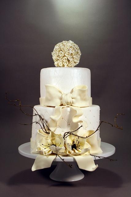 White/Ivory Wedding Cake.  by marksl110, via Flickr