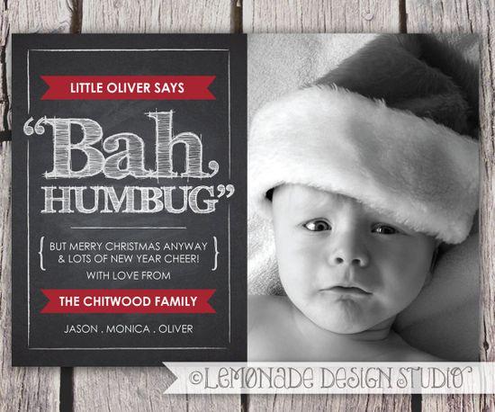 Chalkboard Christmas Card - Bah Humbug Photo Card - Holiday Chalkboard Card - Black Red - Green - Funny Christmas Card - Printable. $14.00, via Etsy.