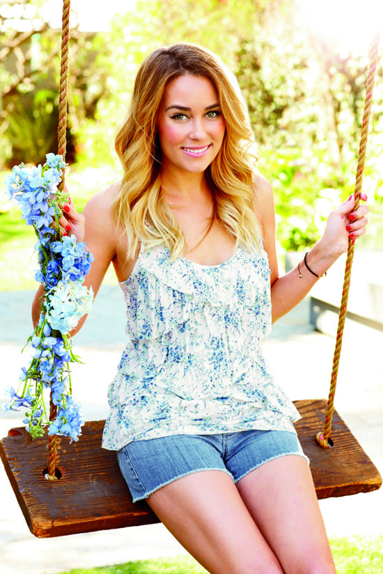 lc lauren conrad: flouncy and feminine tank paired with cute cut-offs