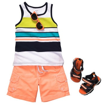 Stoked about stripes matched with stylish cargo shorts. #carters