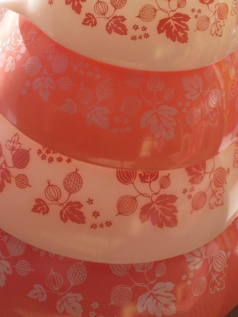 Pink Gooseberry Pyrex Cinderella Bowls