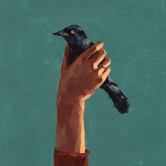 Bird in Hand . giclee art print of original by tastesorangey, $15.00