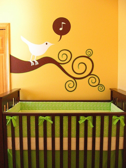 Yellow and Green Nursery Mural. Love the music notes and songbird!!
