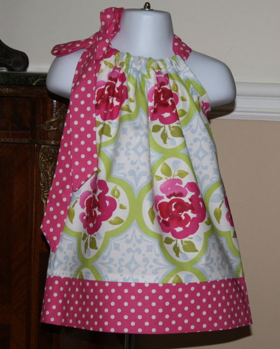 Pillowcase dress - I think I even have that blue and pink fabric!