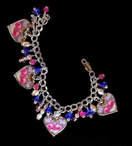 Broken china jewelry heart charm bracelet by Dishfunctional Designs