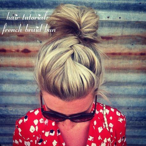 french braid bun hair tutorial