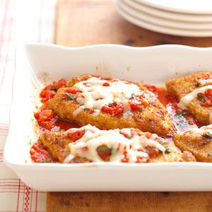 Don't go to a restaurant for this classic Italian favorite. With just 30 minutes preparation time, this breaded chicken, cheese, tomatoes and herb dish can be on the table in less than an hour.