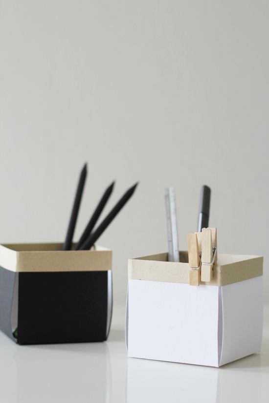 DIY: little paper desk boxes (Tutorial: fellowfellow.com/...)