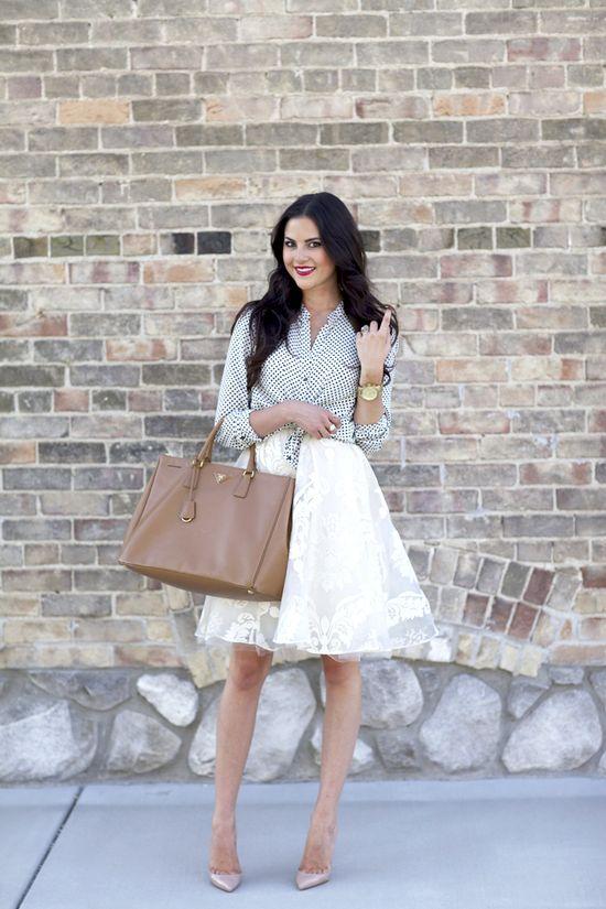 anthropologie skirt, zara top & prada bag