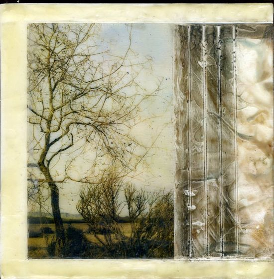 Encaustic art Winter's Edge on hardboard canvas