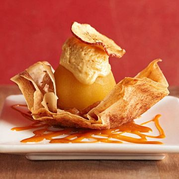 Artfully elegant looking Poached Apple Strudel in a Phyllo Cup with Graham Cracker Ice Cream and Warm Caramel Sauce. Now that's a dessert! #caramel #apples #fruit #food #dessert #baking #cooking #autumn #fall