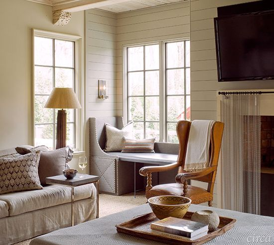 Love the unusual window seat in this Circa- Heather Smith family room.