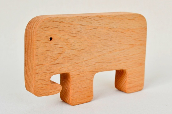 Elephant Toy - Animal Wooden Teether -