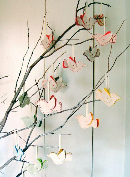 Felt bird ornaments