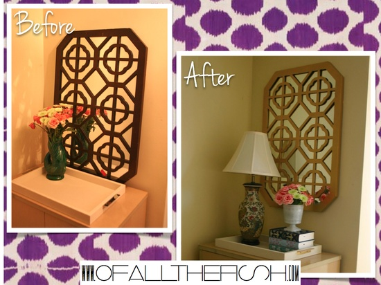 Painted mirror via Ofallthefish.com (DIY, Before + After)