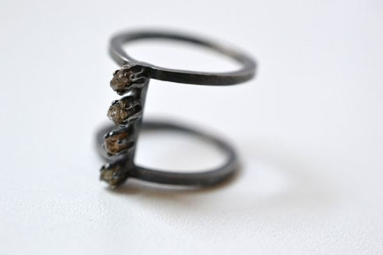 Earth- Raw diamonds and silver armor ring, Natural Raw Rough Diamonds