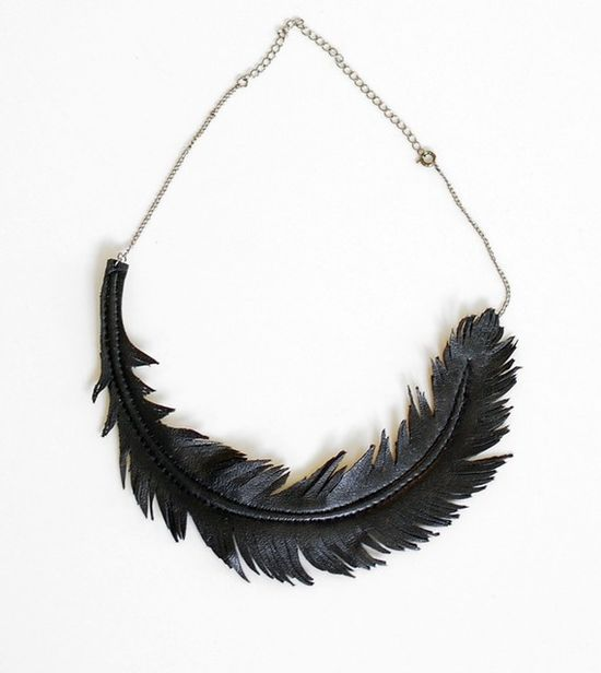 black feather leather necklace