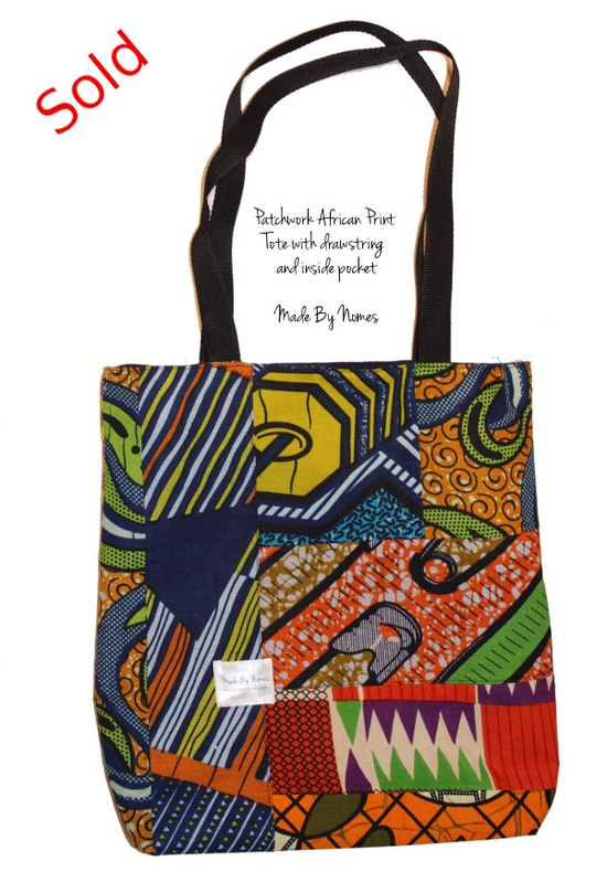 African Print Patchwork Tote Bag - fully lined and unique patterns