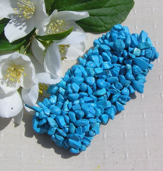 Turquoise Gem Chip Cuff Crystal Stretchy Bracelet by SunnyCrystals, $13.25