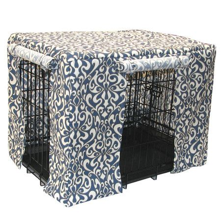 #Crate #Cover with a #Cadet #Blue scrolling motif. Helps your pet rest without distractions.