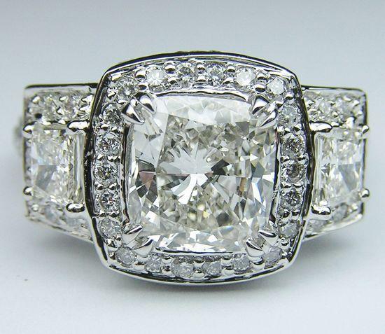 Cushion Diamond Vintage Engagement Ring Brilliant trapezoids side stones