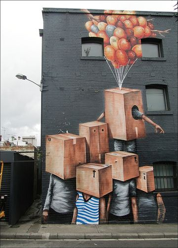 I know this wouldn't be the graffiti art on the bench but I think this is interesting with the boxes covering the face but then in a way the hope of the balloons and maybe we could I corporate this pic on a side wall and refer to it or put it someqehrer idk
