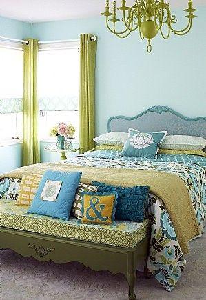 Aqua & Green Bedroom